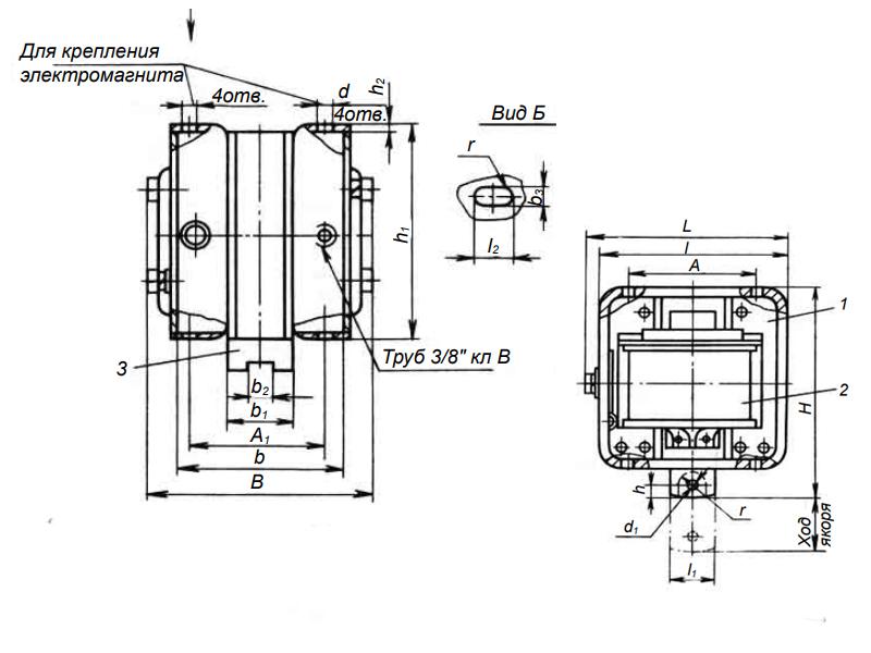 Габаритный размер электромагнита МИС-5100